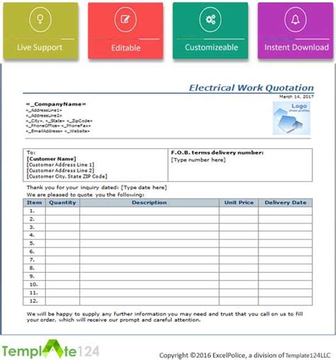 Electrical Work Quotation Format Word Excel Template124 Electrical Quote Template Excel