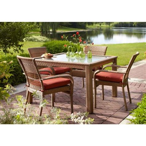 Martha Stewart Patio Dining Set Martha Stewart Living Charlottetown 5 All Weather Wicker Patio Dining Set With