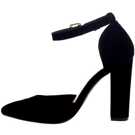 Ankle Pointed Heel Sandals womens pointed toe office shoes block heel ankle