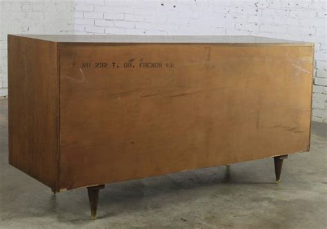 National Furniture Company by Mid Century Modern Walnut Low Dresser Chest Of Drawers By