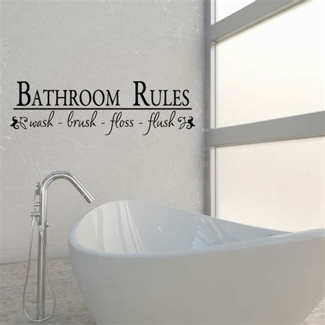 bathroom rules wash brush floss flush vinyl wall decal wall quote wall decor
