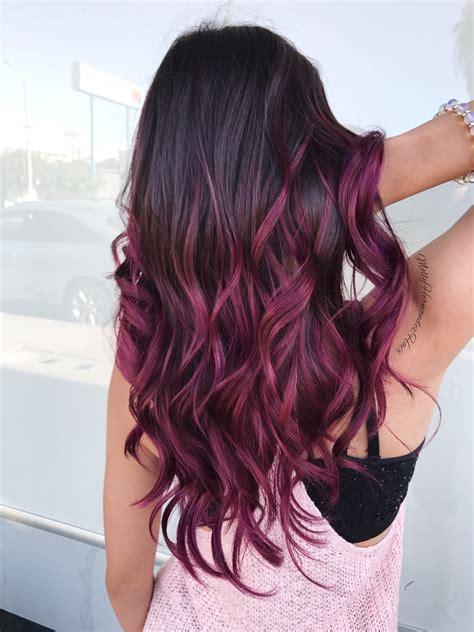 purple burgundy hair color burgundy ombr 233 purple magenta balayage hair goals