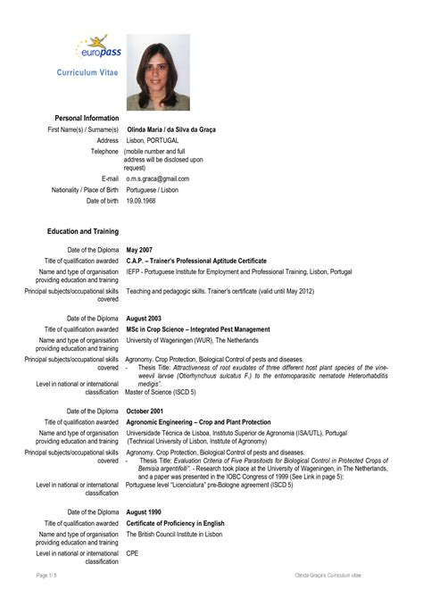 pin european format cv on