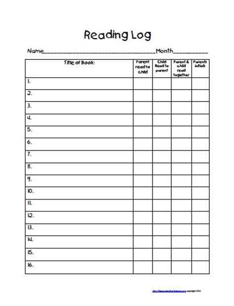 free printable reading logs for 4th grade reading logs