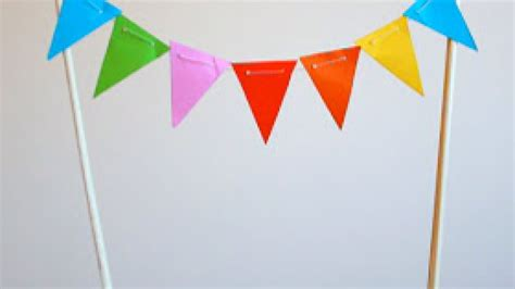 How To Make Bunting With Paper - how to make a mini paper bunting cake topper diy crafts