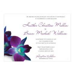blue purple orchid wedding invitations