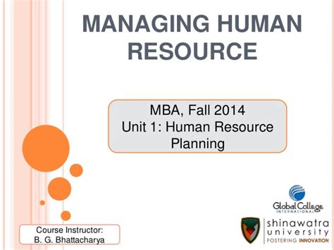 Mba Hrm Tu by Unit 1 Human Resource Planning