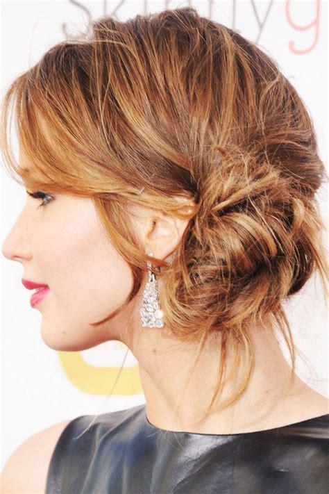 Jennifer Lawrence Side Bun   Women Hairstyles