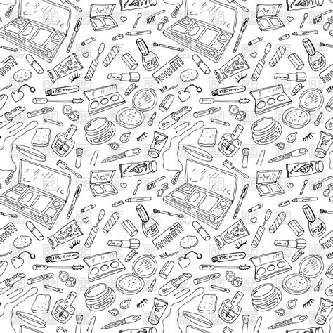 pattern background sketch sketch of seamless pattern with beauty products cosmetics