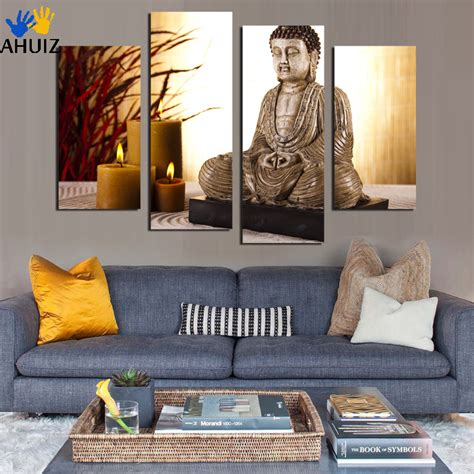 home decor big buddha buddhism antique art wall canvas print picture background ebay 4 panel buddha canvas painting antique buda and candle