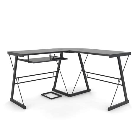 L Shaped Black Computer Desk L Shaped Computer Desk In Black