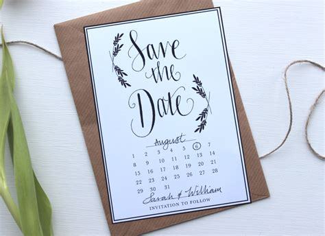 save the date wedding invitation card template with flower wreath