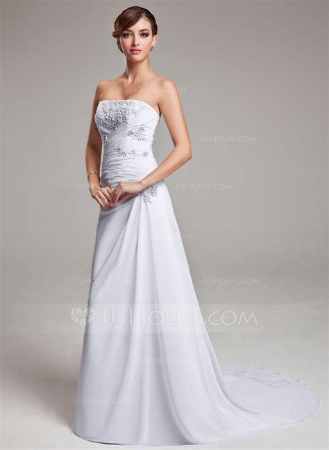 Wedding Dress Jjshouse by A Line Princess Strapless Sweep Chiffon Wedding