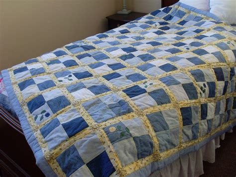 Denim Patchwork Quilt - upcycled denim patchwork quilt with applique made in usa