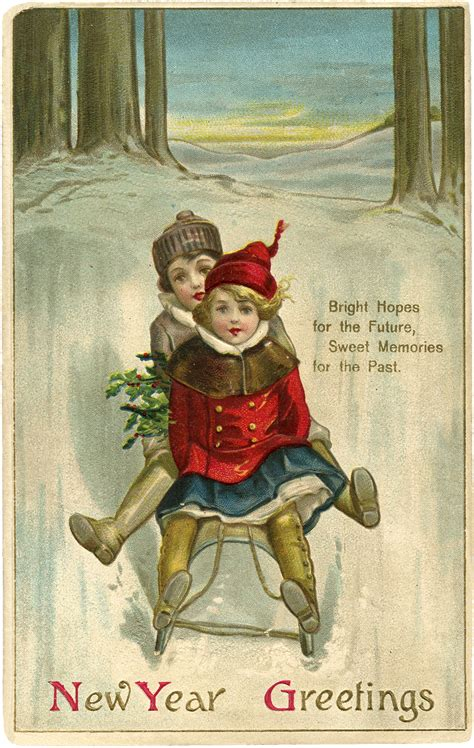 new year vintage greeting cards vintage new year sled image the graphics