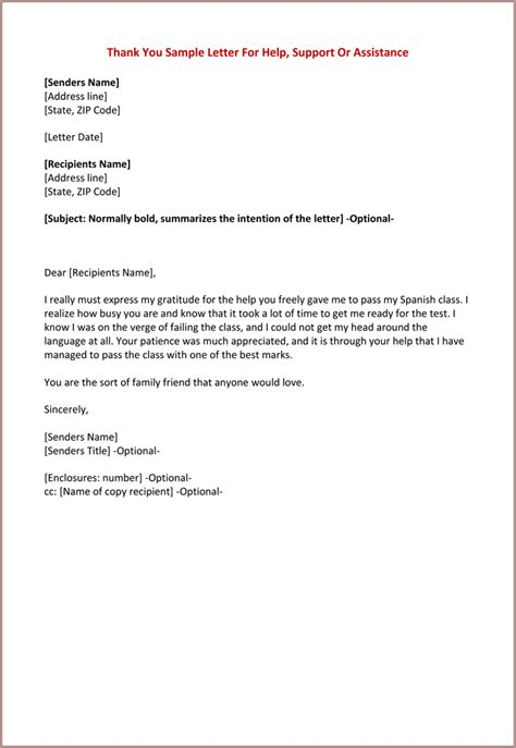 thank you letter to for help thank you for your help letter formats best
