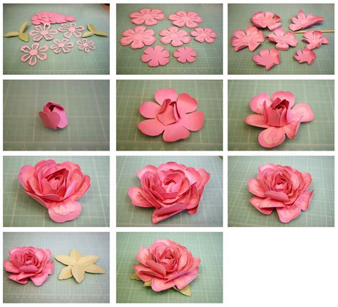 pattern to make paper flower bits of paper 3d layered rose and penstemon paper flowers