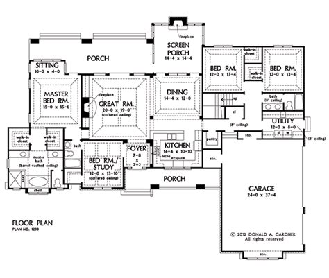 gardner floor plans first floor plan of the markham house plan number 1299
