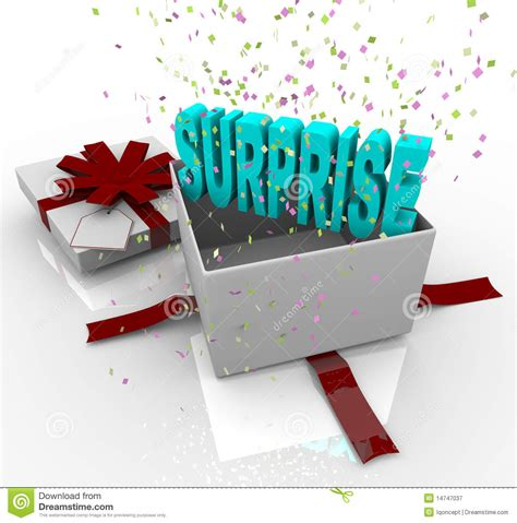 surprise present happy birthday gift box stock