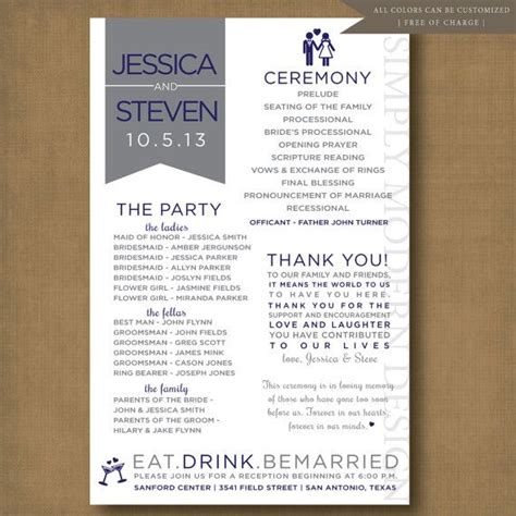 layout of wedding reception programs unique and fun wedding program printable