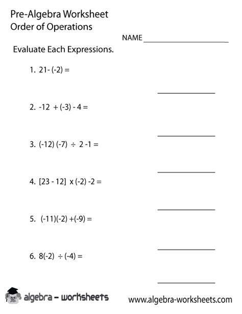 worksheets for teaching order of operations order operations pre algebra worksheet pre algebra