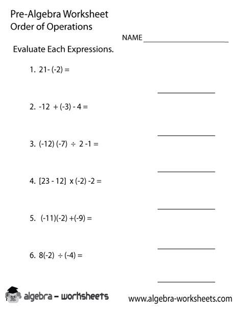 order operations pre algebra worksheet pre algebra