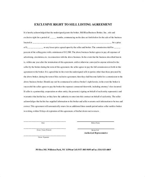 sle business listing agreement 7 exles in word pdf