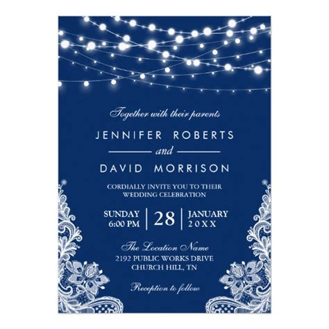 wedding cards design blue string lights white lace navy blue wedding card