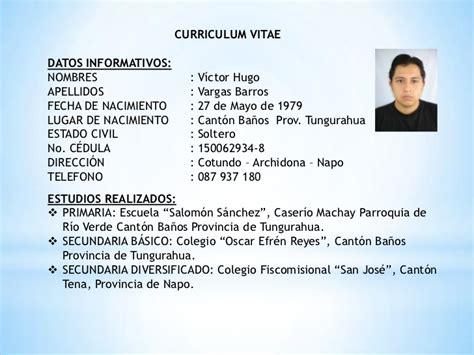 Modelo De Curriculum Vitae Y Sus Partes estructura curriculum vitae