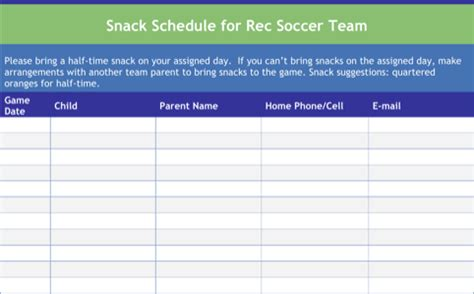 snack calendar template snack schedule templates for excel pdf and word