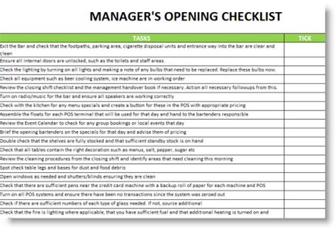 Restaurant Manager Opening And Closing Checklist Google Search Restaurant Forms And Restaurant Closing Checklist Template