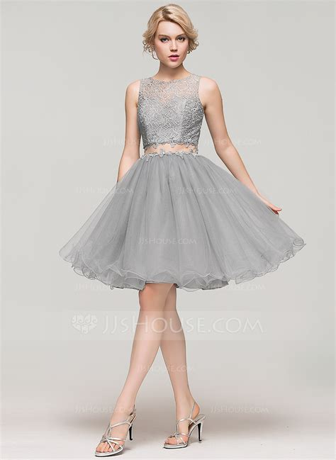 a line princess scoop neck knee length tulle lace