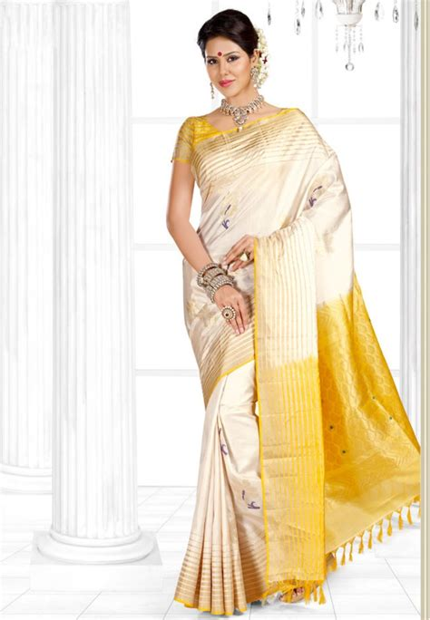 pothys silk sarees pothys cream and yellow mayuri menpattu soft silk saree