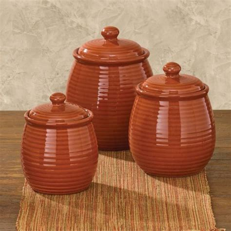 orange kitchen canisters set of 3 serrano terracotta kitchen canisters ceramic