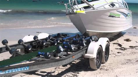 best boat trailer for beach launching ledge point beach launch and retrieval updated video youtube
