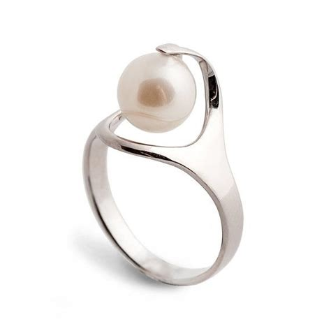 ra pearl engagement ring unique gold pearl ring 14k by