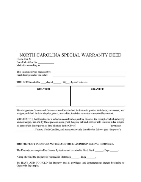 carolina special warranty deed form deed forms
