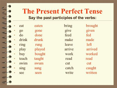 Verb Pattern Exle | write the pattern of past tense and give exle the present