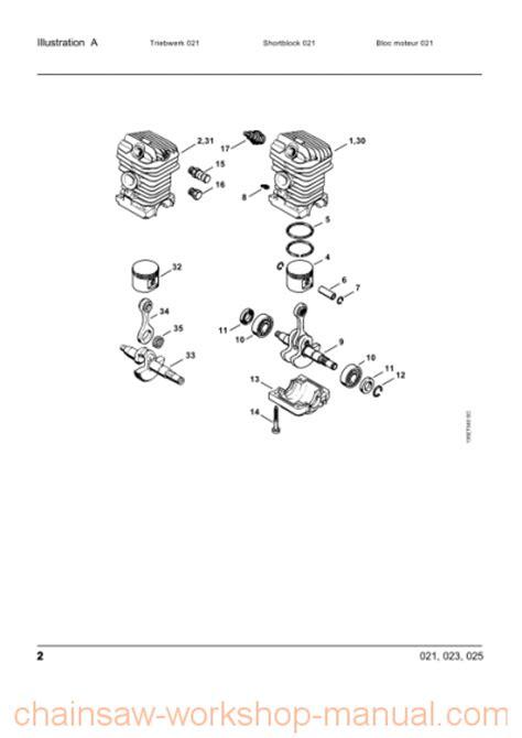 stihl 023 parts diagram stihl 023 parts list manual chainsaw workshop manuals