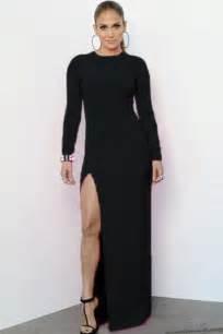 Hot sale black long sleeve maxi dress with side split