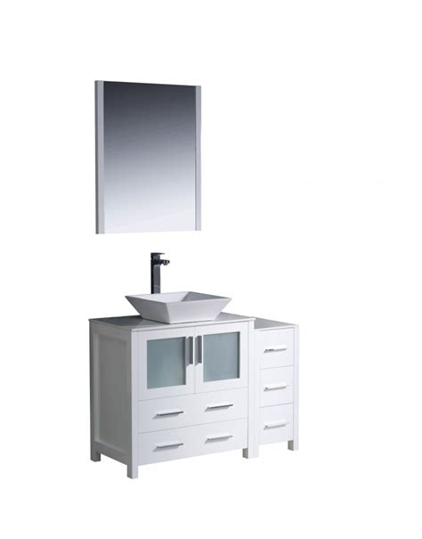 42 inch vessel sink bathroom vanity in white