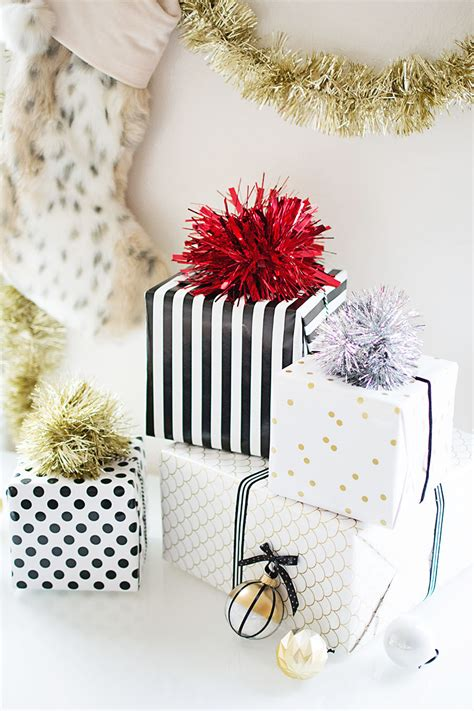 diy tinsel pom pom gift topper homey oh my