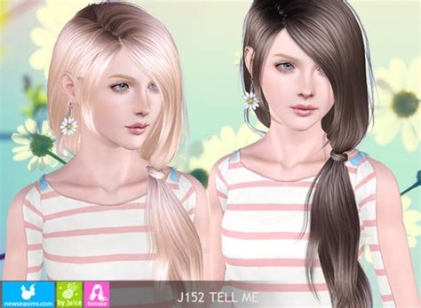 Side Ponytail Sims 3 | wrapped side ponytail j152 tell me by newsea sims 3 hairs