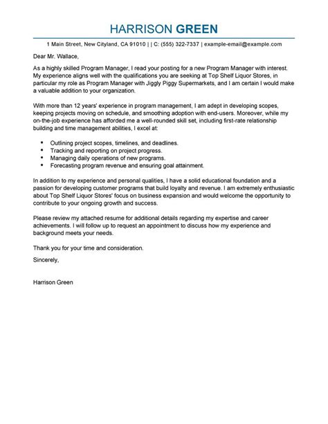 Cover Letter Exle Manager Best Management Cover Letter Exles Livecareer