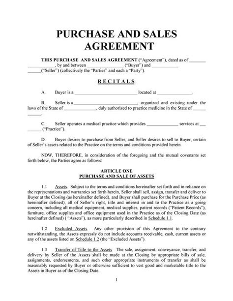 Agreement Of Purchase And Sale Template sale agreement free printable documents