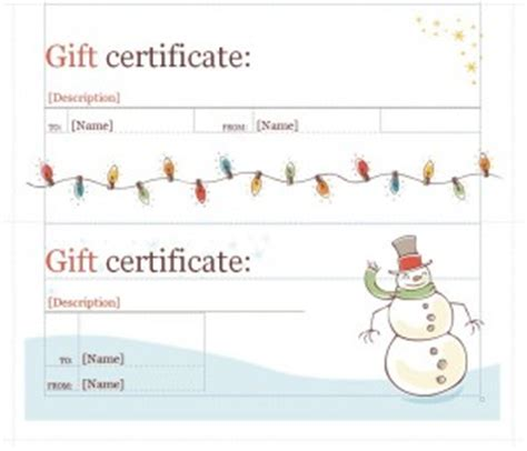 holiday gift certificate template word templates