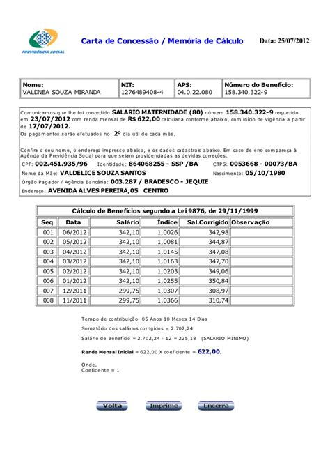 consulta carta de beneficio do inss mem 243 ria de c 225 lculo do benef 237 cio