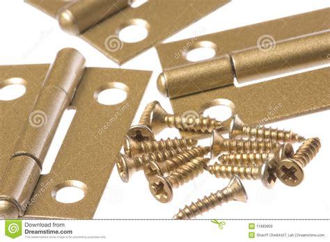 door hinges and screws macro isolated stock image image