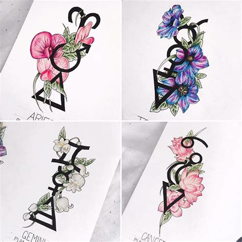 leo and aries tattoo designs the four aries taurus gemini and cancer
