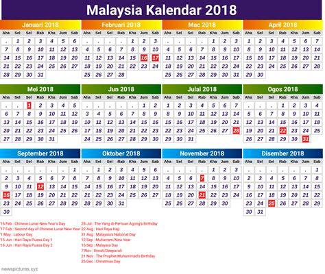 2018 calendar excel malaysia ma3sa